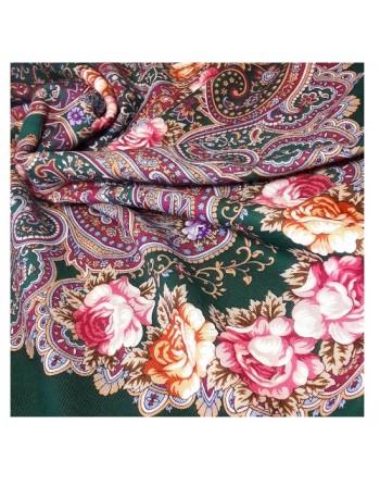 sal-esarfa-batic-lana-146x146cm-original-pavlovo-posad-rusia-model-floral-torzhestvo-leta-multicolor-pe-fundal-verde