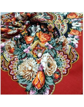 1851-5-sal-esarfa-basma-batic-lana-125x125cm-original-pavlovo-posad-rusia-model-floral-serebryanyy-ruchey-pe-fundal-rosu