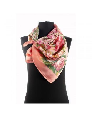 10039-3-esarfa-de-matase-naturala-150x43cm-originala-pavlovo-posad-rusia-model-floral-rayskiy-sad-pe-fundal-roz-corai