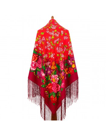 1210-05-sal-din-lana-148x148cm-rusesc-original-pavlovo-posad-imprimeu-floral-tsvetushchiy-sad-multicolor-pe-fundal-rosu