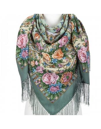 1775-12-sal-din-lana-125x125cm-original-pavlovo-posad-rusia-imprimeu-floral-karmelita-pe-fundal-verde