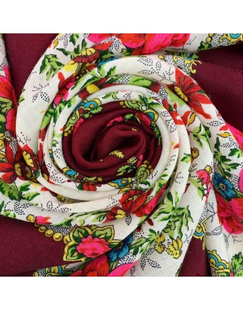 batic-esarfa-basma-sal-lana-89x89cm-original-pavlovo-posad-rusia-floral-neznakomka-multicolor-pe-fundal-rosu-visiniu