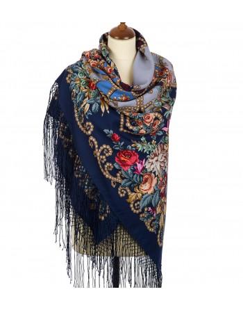 362-14-sal-din-lana-148x148cm-rusesc-original-pavlovo-posad-model-tsyganka-aza-multicolor-pe-fundal-albastru