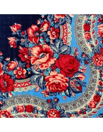 sal-esarfa-basma-batic-lana-125x125cm-original-pavlovo-posad-rusia-model-floral-rozovyy-sad-pe-fundal-albastru
