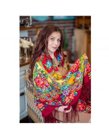 sal-esarfa-batic-din-lana-148x148cm-rusesc-original-pavlovo-posad-model-leto-multicolor-pe-fundal-rosu
