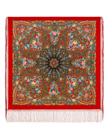 1914-5-sal-din-lana-148x148cm-rusesc-original-pavlovo-posad-model-krasavitsa-multicolor-pe-fundal-rosu