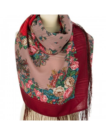 1548-5-sal-din-lana-146x146cm-original-pavlovo-posad-rusia-model-floral-spyashchaya-krasavitsa-pe-fundal-rosu