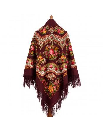 351-7-sal-din-lana-146x146cm-original-pavlovo-posad-rusia-model-braslet-multicolor-pe-fundal-rosu-grena