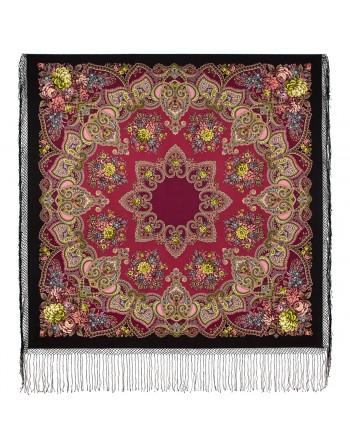 372-19-sal-esarfa-batic-din-lana-148x148cm-rusesc-original-pavlovo-posad-cu-desen-unic-maya-multicolor-pe-fundal-negru