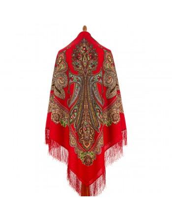 1447-5-sal-din-lana-146x146cm-original-pavlovo-posad-rusia-model-floral-tsarevna-lyagushka-pe-fundal-rosu