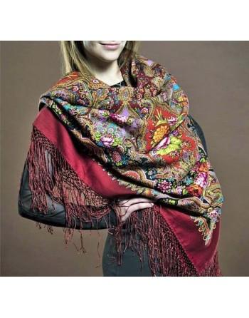 batic-din-lana-148x148cm-rusesc-original-pavlovo-posad-cu-desen-unic-mindal-multicolor-pe-fundal-rosu