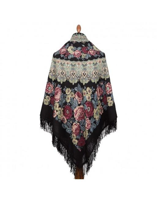 sal-esarfa-batic-din-lana-146x146cm-original-pavlovo-posad-rusia-model-molitva-multicolor-pe-fundal-negru