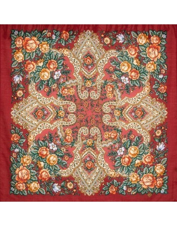 1687-6-batic-esarfa-sal-din-lana-89x89cm-original-pavlovo-posad-rusia-model-nezhnyye-chuvstva-multicolor-pe-fundal-rosu