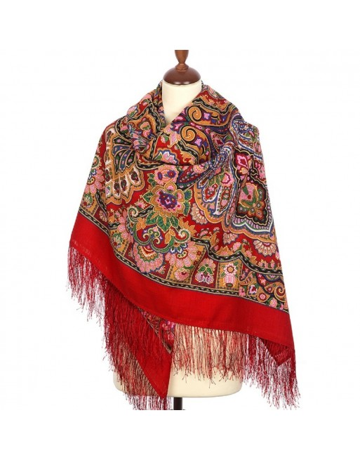 sal-esarfa-batic-din-lana-146x146cm-original-pavlovo-posad-rusia-model-koroleva-krasoty-multicolor-pe-fundal-rosu