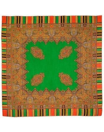 batic-esarfa-sal-din-lana-89x89cm-original-pavlovo-posad-rusia-model-terem-multicolor-pe-fundal-verde