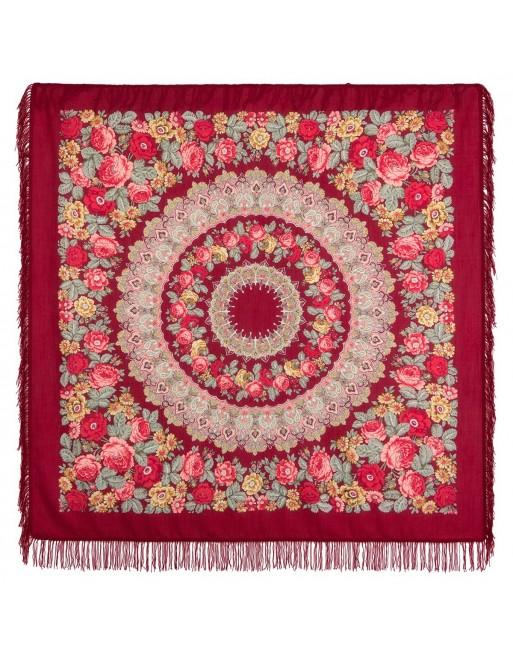 sal-esarfa-batic-din-lana-146x146cm-original-pavlovo-posad-rusia-model-molitva-multicolor-pe-fundal-rosu