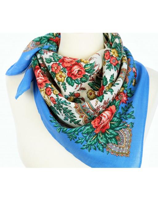 batic-esarfa-basma-sal-din-lana-72x72cm-original-pavlovo-posad-rusia-model-floral-vspleski-radosti-pe-fundal-albastru