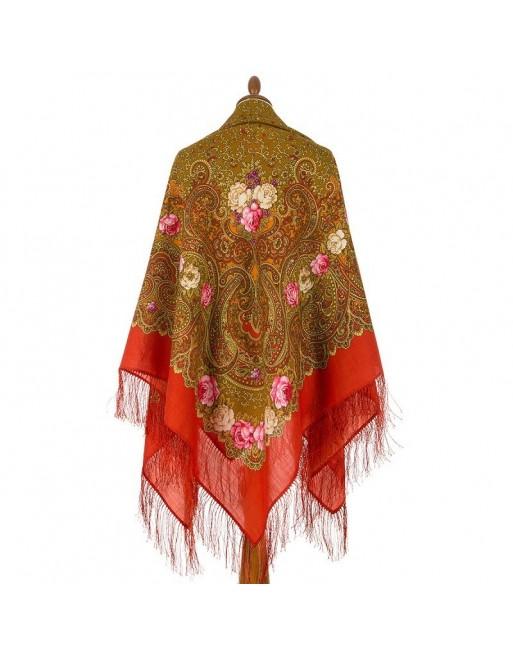 sal-esarfa-batic-lana-146x146cm-original-pavlovo-posad-rusia-model-floral-torzhestvo-leta-multicolor-pe-fundal-rosu