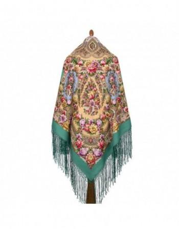sal-esarfa-batic-din-lana-148x148cm-rusesc-original-pavlovo-posad-model-zlato-serebro-multicolor-pe-fundal-verde