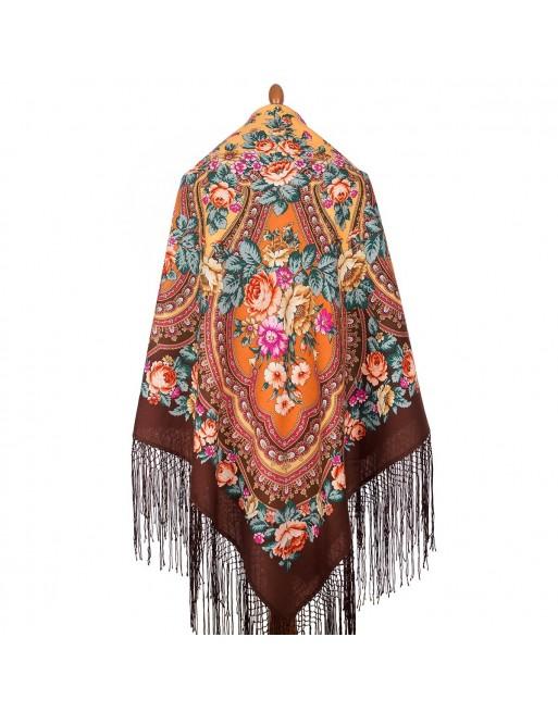 sal-esarfa-batic-din-lana-148x148cm-rusesc-original-pavlovo-posad-model-finifti-multicolor-pe-fundal-maro