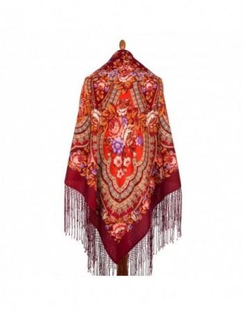 sal-esarfa-batic-din-lana-148x148cm-rusesc-original-pavlovo-posad-model-finifti-multicolor-pe-fundal-rosu