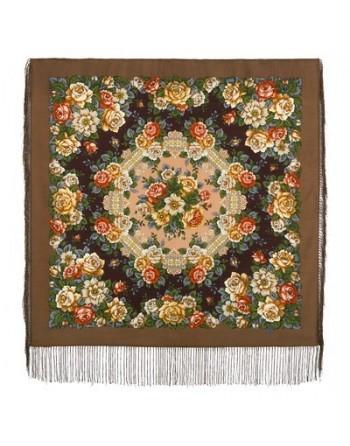 1825-16-batic-din-lana-89x89cm-original-pavlovo-posad-rusia-model-floral-gorod-roz-multicolor-pe-fundal-maro
