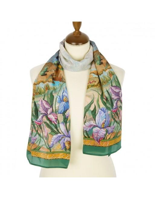 esarfa-din-matase-naturala150x43cm-originala-pavlovo-posad-rusia-model-floral-peysazh-multicolor-pe-fundal-verde