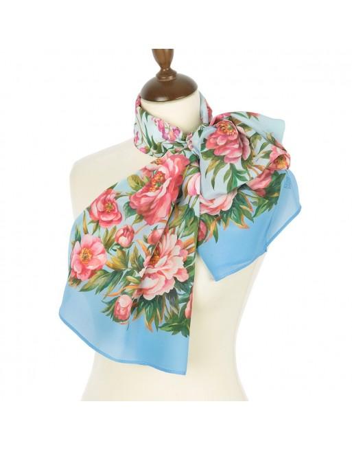 esarfa-din-matase-naturala-150x43cm-originala-pavlovo-posad-rusia-model-floral-rayskiy-sad-fundal-albastru