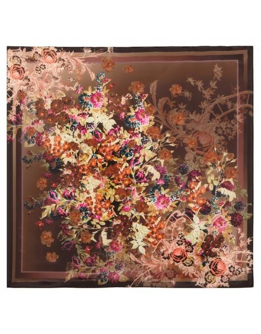 esarfa-batic-basma-de-matase-naturala-89x89cm-originala-pavlovo-posad-rusia-model-floral-vintage-pe-fundal-maro-cod-10092-17