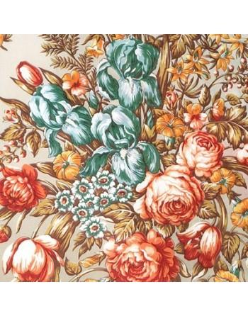 1398-3-esarfa-de-matase-naturala-150x43cm-originala-pavlovo-posad-rusia-model-floral-nezhnoye-prikosnovenye-pe-fundal-bej